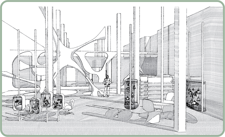 """organic shapes in this aquarium space give the feel of a world beneath water. This image shows two functional areas included in the design – to the right, clients sit down with a specialist to discuss the aquarium they want to design. Small, rectangular aquariums act as a room divider from the rest of the space. to the left, lozenge-shaped containers house various species for sale and are a welcome change from the expected fish """"tank."""""""